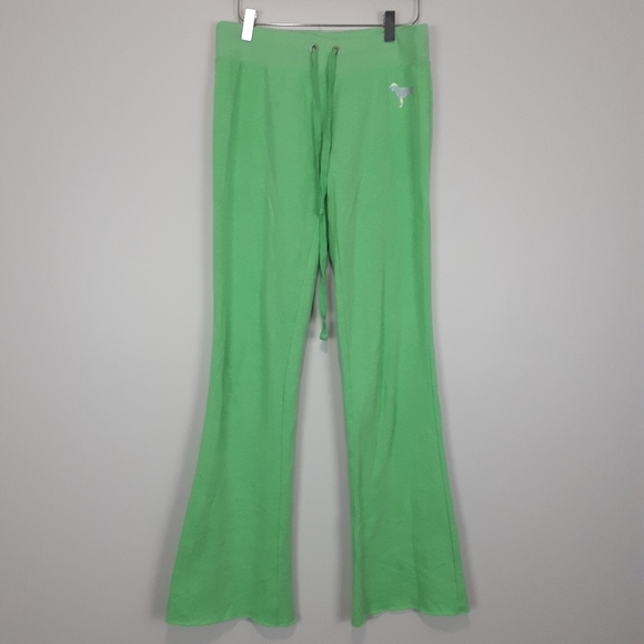 PINK Green Sweatpants with Holo Print
